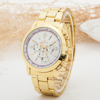 Trendy Good Price Designer's Stylish Gift Awesome Great Deal New Arrival Luxury Men Stainless Steel Gold Quartz Watch [6542573251]