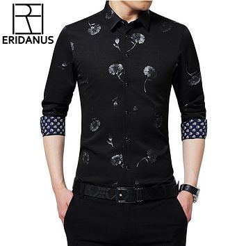 Men Shirts Print Long Sleeve Male High Quality Shirts Casual Slim Fit Man Dress Shirts