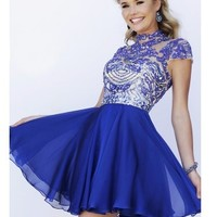A-Line/Princess High Neck Sleeveless Beading Short/Mini Chiffon Dresses - Jolly Belle