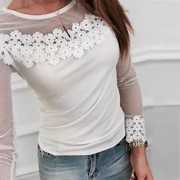 Women Mesh Lace Patchwork Elastic Pullover Long Sleeve Crop Shirt Tops Blouse