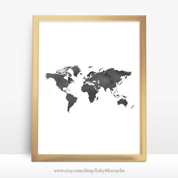 Printable Wall Art Printable Quote Decor calligraphy print home decor typography World Map watercolor 8x10inch