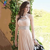 Shining Champagne Prom Dresses Long Party Evening Dress O-Neck  Chiffon Pleats Zipper Back Floor Length