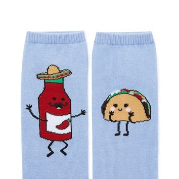 Taco and Hot Sauce Print Socks