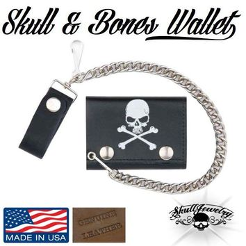 Genuine Leather Men's Skull & Crossbones Tri-Fold Chain Wallet (wallet017)