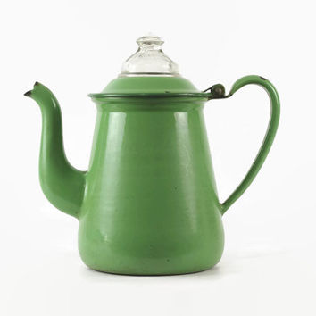 Green Enamel Coffee Pot, Vintage Percolator, 1930s Depression Era Green, Glass Knob Coffee Pot, Farmhouse Decor