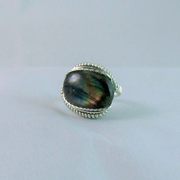 Wire Wrap Ring Labradorite 925 Sterling Silver Size 10.5 Handmade Heady Jewelry Stone Healing Crystals Metaphysical Mineral