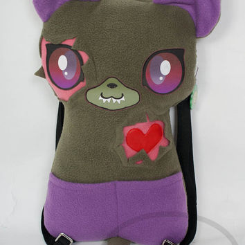 Zombie Cat Backpack,  Bag, Plush Animal, Handmade