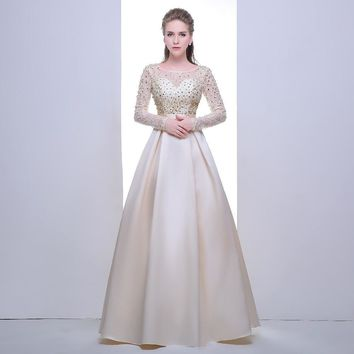New Long Sleeve Prom Dresses  Floor Length Beading Satin Formal Evening Dresses Long Ball Gown
