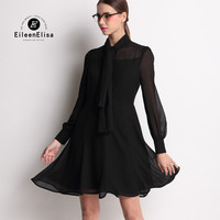 Runway Dress 2017 Luxury Black Dress Women Silk Dress High Quality Spring Dresses