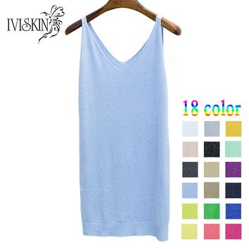 2017 Long Style V Neck Vest Women Sliver Thread Club Vest Sexy Sequined Knitted Tank Tops Female Blusa Solid Casual Vest Sweater