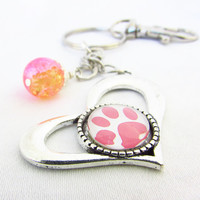 Paw Print Heart Keychain, Pink Paw Keyring, Animal Lover Keychain, Paw Car Accessory, Gift for Animal Lover