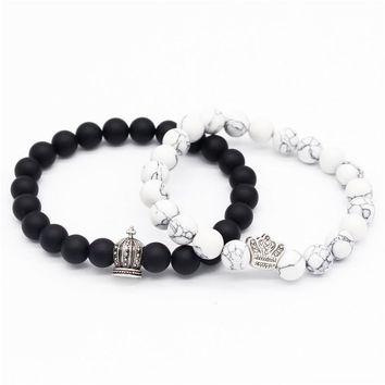 Cool Poshfeel King & Queen Crown Bracelets for Lovers 8mm Black/white Stone Beads Couple Bracelets & Bangles MBR180110AT_93_12