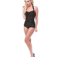 50's Style Black Floral One Piece Swimsuit - Unique Vintage - Cocktail, Pinup, Holiday & Prom Dresses.