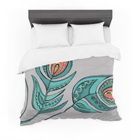 "Brienne Jepkema ""Feathers Gray"" Grey Teal Featherweight Duvet Cover"
