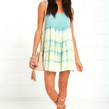 Tide is High Mint Blue Tie-Dye Babydoll Dress