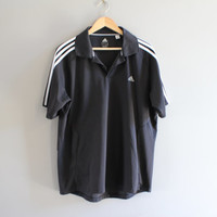 US Free Shipping Adidas Polo Shirt Black 3 Stripes Golf Activewear Loose Fit Vintage 90s Size XL #T123A