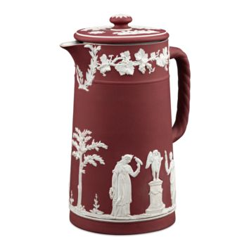 Antique Pottery, English Pottery, Wedgwood, Crimson Jasperware at rauantiques.com