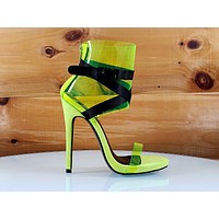 """So Me Zuleyma PCV Yellow 5"""" High Heel Ankle Shoes Boots"""