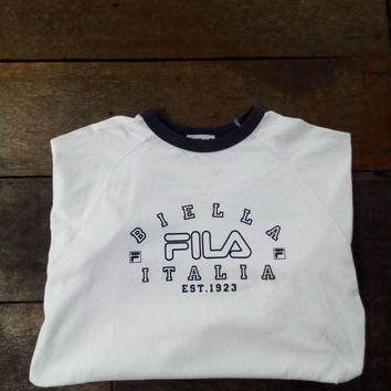 Fila Biella italia est 1923 tees T-shirt Big Logo vintage fila sport wear design for summer