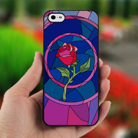 Beauty and Beast rose glass Custom design for iPhone 4/4S Black case