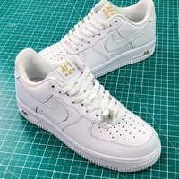 Nike Air Force 1 Af1 Low Crest Logo White Sneakers Shoes - Best Online Sale