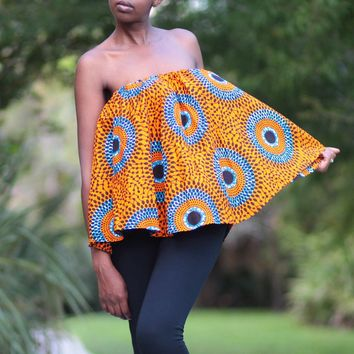 African Print Off Shoulder Cape Top  - Orange/Blue/Black Concentric Print