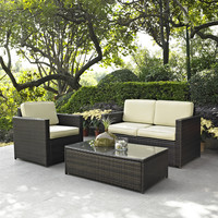 3-Piece Outdoor Patio Furniture Set with Chair Loveseat & Cocktail Table
