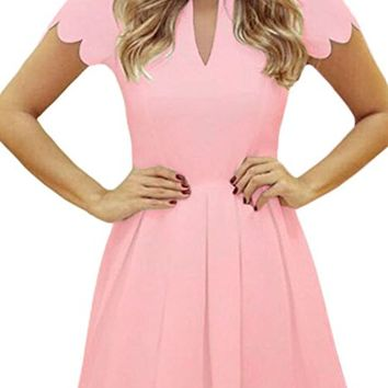 Women Cute V Neck Sweet Scallop Pleated Skater Dress