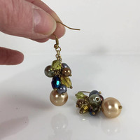 Beaded Dangle Earrings, Multicolored, Glass Beads, Drop Dangle Pearls, Vintage Jewelry