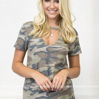 Army Green Neck Top