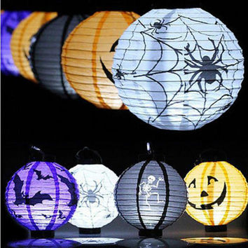 2018 Hot Sale LED Paper Pumpkin Hanging Lantern Lanterns Skull Bones Bat Spider Pumpkin Light Halloween Party Decoration Lamp