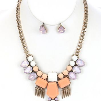 Peach Faceted Lucite Stone Metal Spike Fringe Bib Necklace And Earring Set