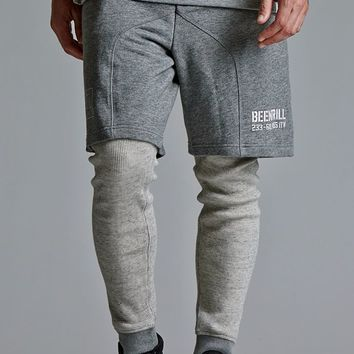 Been Trill Layered Shorts and Waffle Knit Leggings - Mens Pants - Gray