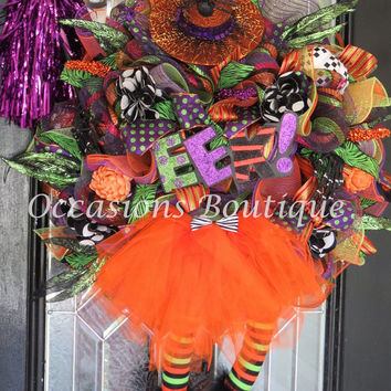 Large Halloween Wreath, Wicked Witch Halloween Wreath, Halloween Decoration, Halloween Party, Fall Wreath, Door Hanger, Last One!