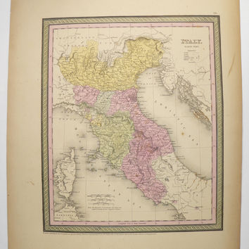 Original Vintage Map Northern Italy 1852 Mitchell Italy Map, Antique Map Italy, Gift for Travelers, Italy Genealogy Gift, Italian Decor Gift