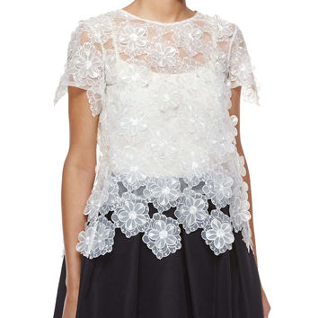 Three-Dimensional Floral Lace Tee, White - Self Portrait