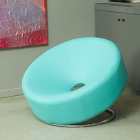 Modern Saucer Chair Blue Bonded Leather Steel Leg Unique Living Room Furniture