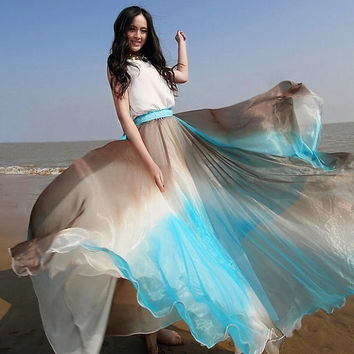 colorful Chiffon Maxi Skirt Long Sundress maternity Wear Holiday Maxi Dress Skirt Beach Skirt  honeymoon skirt