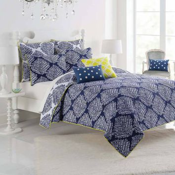 Kas® Twilight Reversible Quilt in White/Indigo