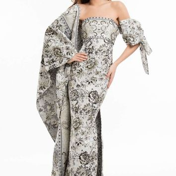 Terani Couture - 1821E7143 Two Toned Gown with Bow and Shawl
