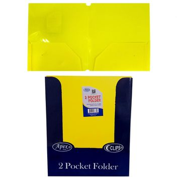 "Yellow Premium Plastic 2 Pocket Folders - 9.5"" x 11.5"" - CASE OF 48"
