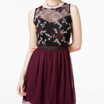 Speechless Juniors' Contrast Lace Tulle Dress | macys.com