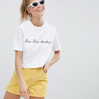 ASOS DESIGN crop t-shirt with oui darling french print in white at asos.com