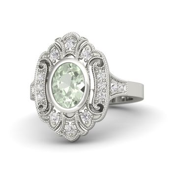 Oval Green Amethyst 18K White Gold Ring with White Sapphire