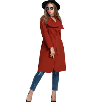 Spring Autumn Women Trench Coat Female Windbreaker Cardigan Long Overcoat Lady Clothing Outerwear Wool Manteau Laine Femme 2016