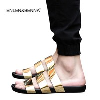 New arrival2016 summer male sandals men gold leather shoes open toe sandals slippers fashion casual beach gladiator sandals flat