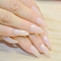 Clear Nude Nail Art Full Cover Oval Sharp Shinning Stiletto False Fake Nail Tips Salon Artificial Nails F054-79P