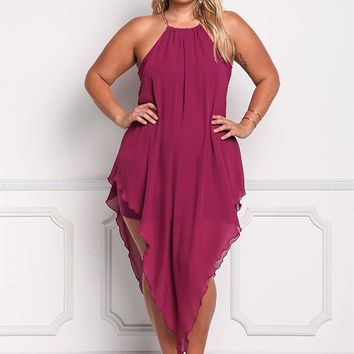 Plus Size Clothing | Plus Size Chiffon Chain Strap Pointed Midi Dress | Debshops