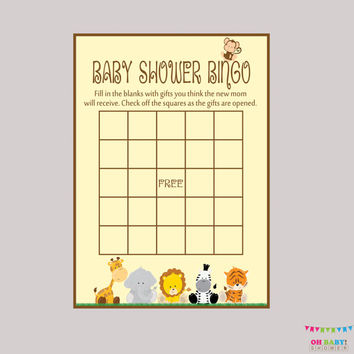Safari Baby Shower Bingo Cards - Bingo Cards - Digital Instant Download - Safari Baby Shower Game - BS0001-N