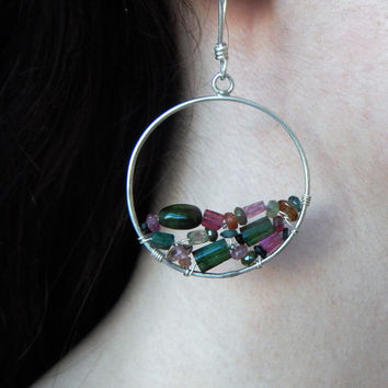 Wire-Wrapped Multicolor Tourmaline and Sterling Silver Hoop Earrings, Pink Green Orange Blue Tourmaline Beads Unique Statement Earrings